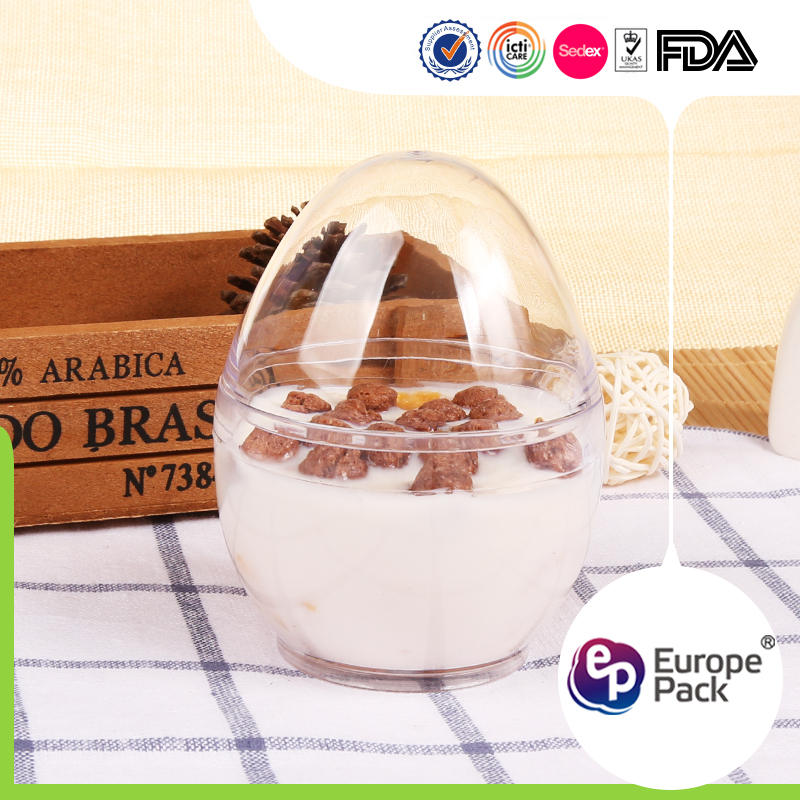 High quality food storage plastic egg shape container with lid