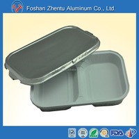 Smooth wall 2 compartments disposable aluminum foil food lunch box/picnic food container