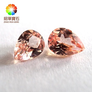 Morganite Sapphire Synthetic Corundum pear high quality Loose Gemstone