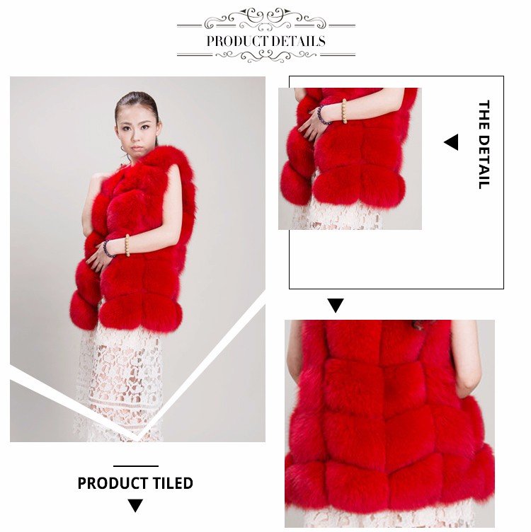 European Fashion Girl Red Real Fox Fur Waistcoat