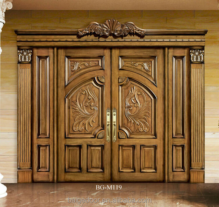 Bg m257 indian single door designs indian wooden door for Traditional main door design