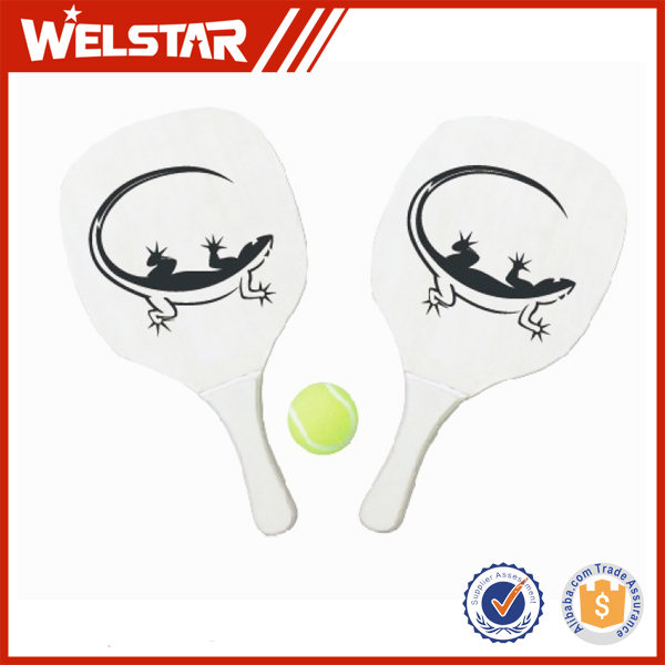 Promotional Racket Beach Tennis Ball with Long Handgrip Wooden Tennis Beach Racket