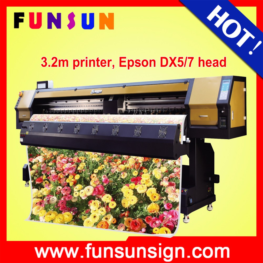 Funsunjet FS3202G 3.2m / 10ft wide format commercial cd printer with dx5 head for SAV adhesive vinyl sticker printing 1440dpi