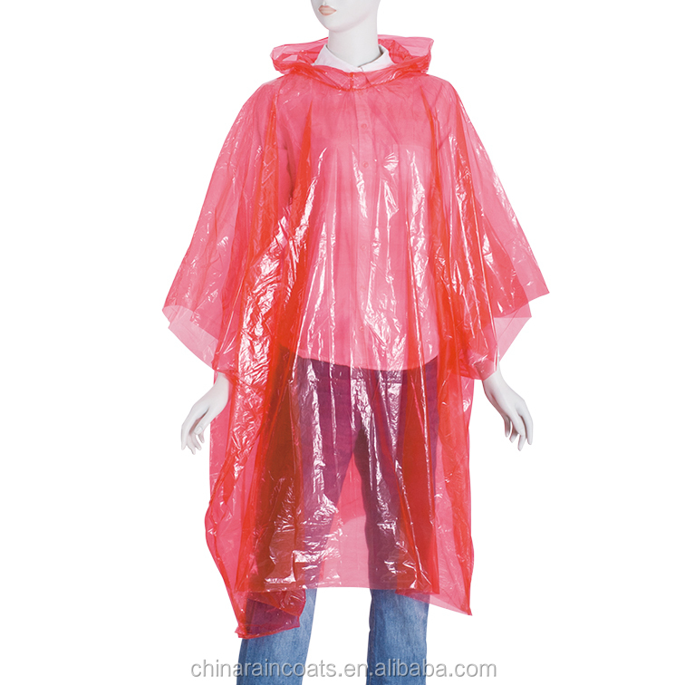 Red Color Disposable PE Poncho