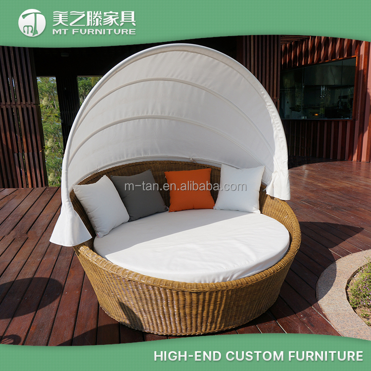 Hot sale garden outdoor wicker canopy rattan daybed with half round ottoman