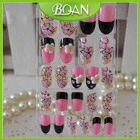 New Arrival Pre Designed Pink Color French Nail Tips