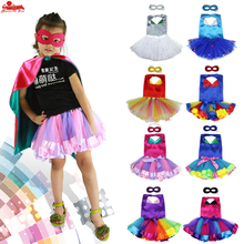 Special Skirt Set with Superhero Cape and Mask Baby Girl Princess Costumes Cosplay Party