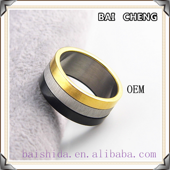 Hot sales three color ring 18k gold ring 316 stainless steel ring for wholesale