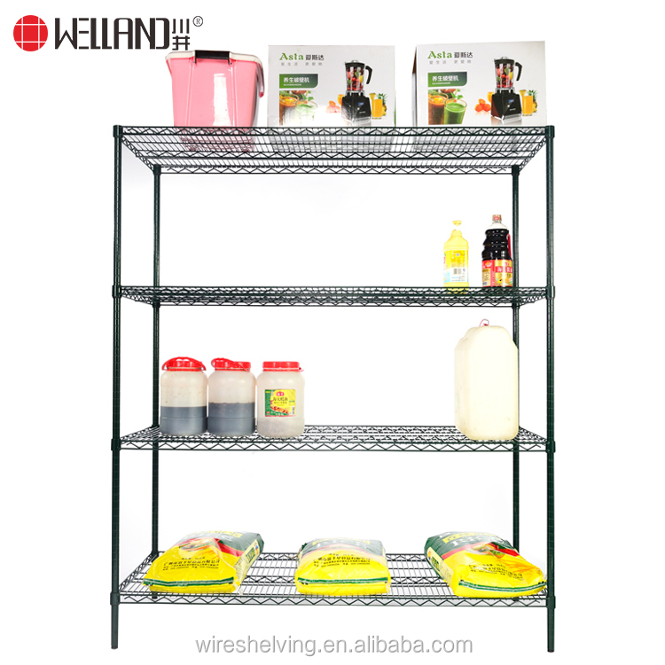2017 new arrival 800lbs 4 Tiers Zinc Epoxy commercial stainless steel heavy duty storage Metal kitchen Racks Shelves