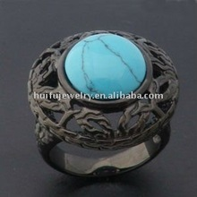 2015 Fashion Stainless Steel class turquoise ring for black plated with Gemstone