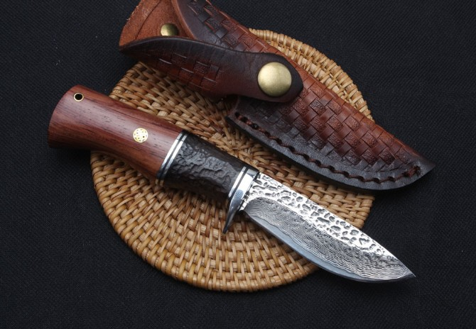 60HRC Steel + Ebony Handle Damascus Steel Knife Camping Outdoor Knives Hunting Tool Dropshipping 2064