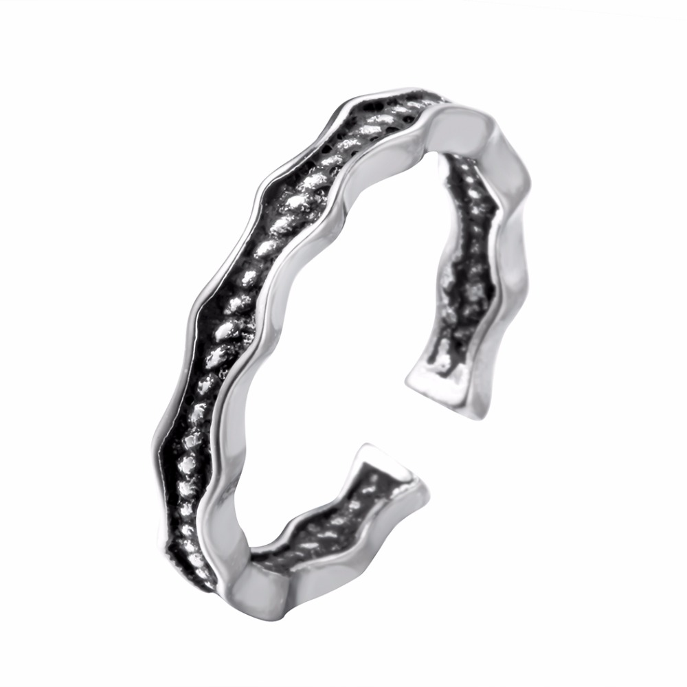 Simple Indian Jewelry Silver Wave Adjustable Finger Ring For Women Nice Circle Open Ring Fashion Party Accessory