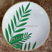 Wholesale Round Dinner Plate with Green Leaf Pattern, Ceramic Round Custom Plate,hengfei ceramic