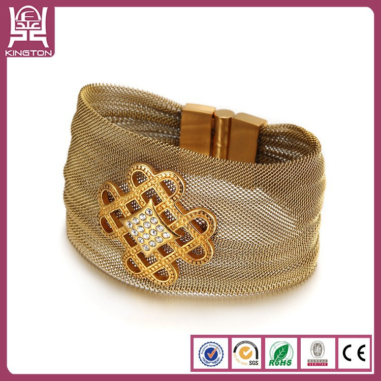 Fashion wide Chinese knot bracelet with Gold Plating