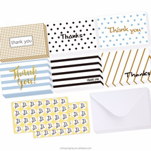 Wholesale 48 Assorted Thank You Cards, Postcard Style Thank U Greeting Card of 6 Designs/48 Envelopes & 48 Stickers