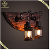 Industrial Loft Lamp Vintage Style Wooden Base Wall Sconce Double Heads Wall Lamp for Room