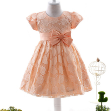 Fashion cute comfortable orange baby cotton frock design for 3 years old girl wear