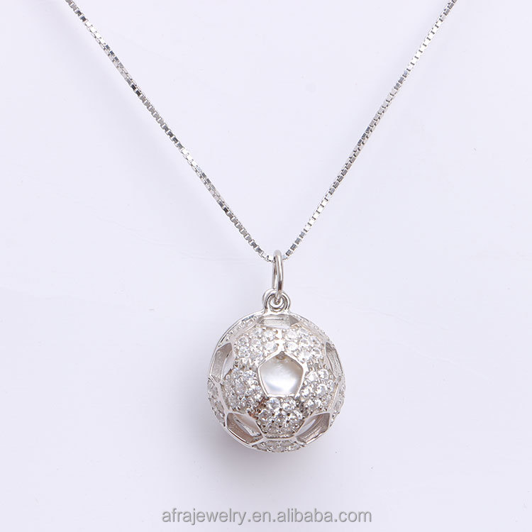 Hollow Football Shaped 925 Sterling Silver Pearl Cage Pendant