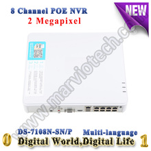 DS-7108N-SN/P Multi-language Big Promotion Newest Plug & Play 8CH PoE NVR for HD IP Camera with 8 Independent PoE HD 1080P NVR