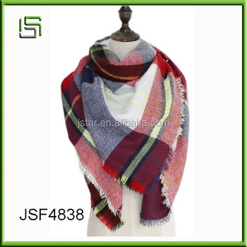 Fashionable colorful checked girl blanket acrylic scarf
