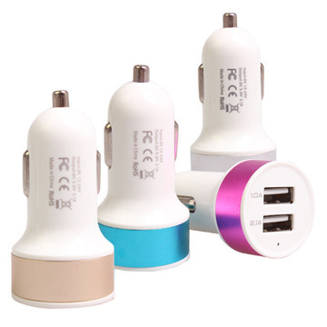 Colorful Round Dual USB Car Charger For iPhone 5 5S 5C /Samsung