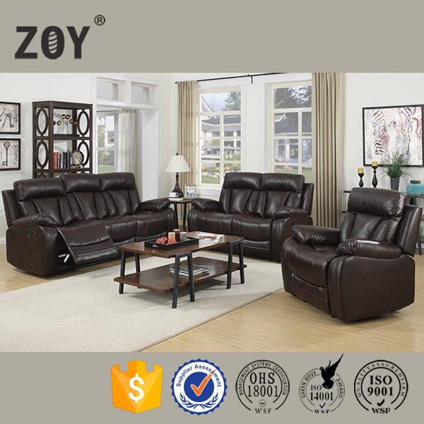 ZOY 3 Piece Brown leather Reclining Sofa, Loveseat & Chair Set