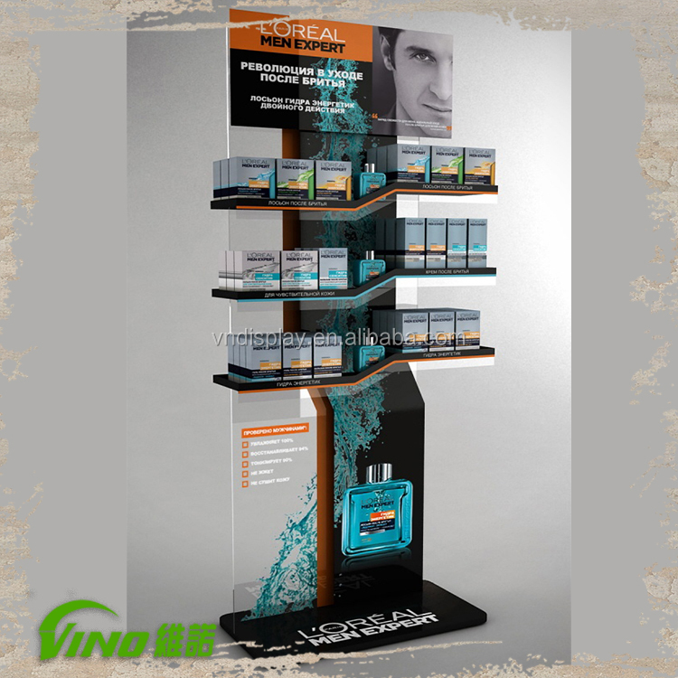 3 Layers Acrylic Free Standing Cosmetic Display , Shelf Display Stand , cosmetic product display stands ,
