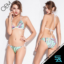 Best selling Blue Feather Print Sexy Beach Swimwear Bikini Set