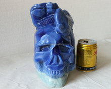 15LB Rare Lazulite Gem Quartz Crystal Skull With Snake wrapping Frog on Head, Head Sculpture Healing