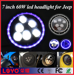 "Wholesale 60w sealed beam jeep wrangler headlight jk 7"" projector led headlight with angel eyes"