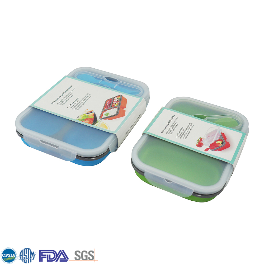 Folding Silicone Food Container Set Collapsible Siliconebento Lunch Box