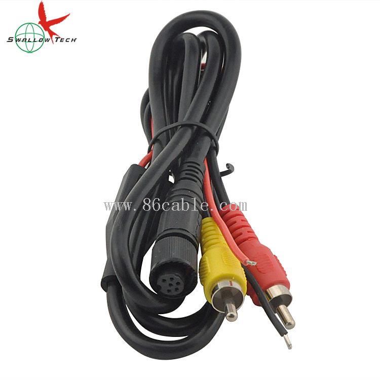 6pin din female to RCA waterproof audio video cables for vehicle cameras car rear view cameras