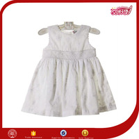 wholesale new fashion design one piece casual stylish plain white cotton materials small girls sleeveless patterned dress