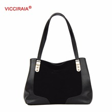 VICCIRAIA New Fashion Lady Tote Bags Black Fur PU Imitation Leather Women Handbag