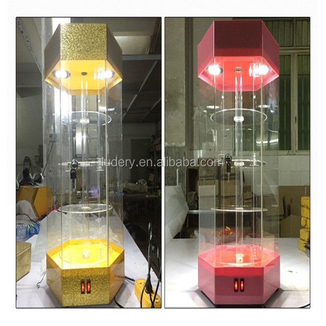 Hexagon Style LED Lighted Locked Acrylic Rotating <strong>Display</strong> Stand/Acrylic Jewelry <strong>Display</strong>/Acrylic <strong>Display</strong> Cabinet