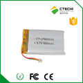 603048 wireless equipment battery for 3.7V 850mAh lithium-ion polymer battery 603048