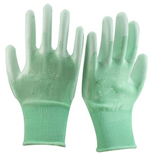 Brand MHR new design dots printed polyester pu coated gloves
