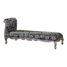 Long Silver Sofa with Upholstered