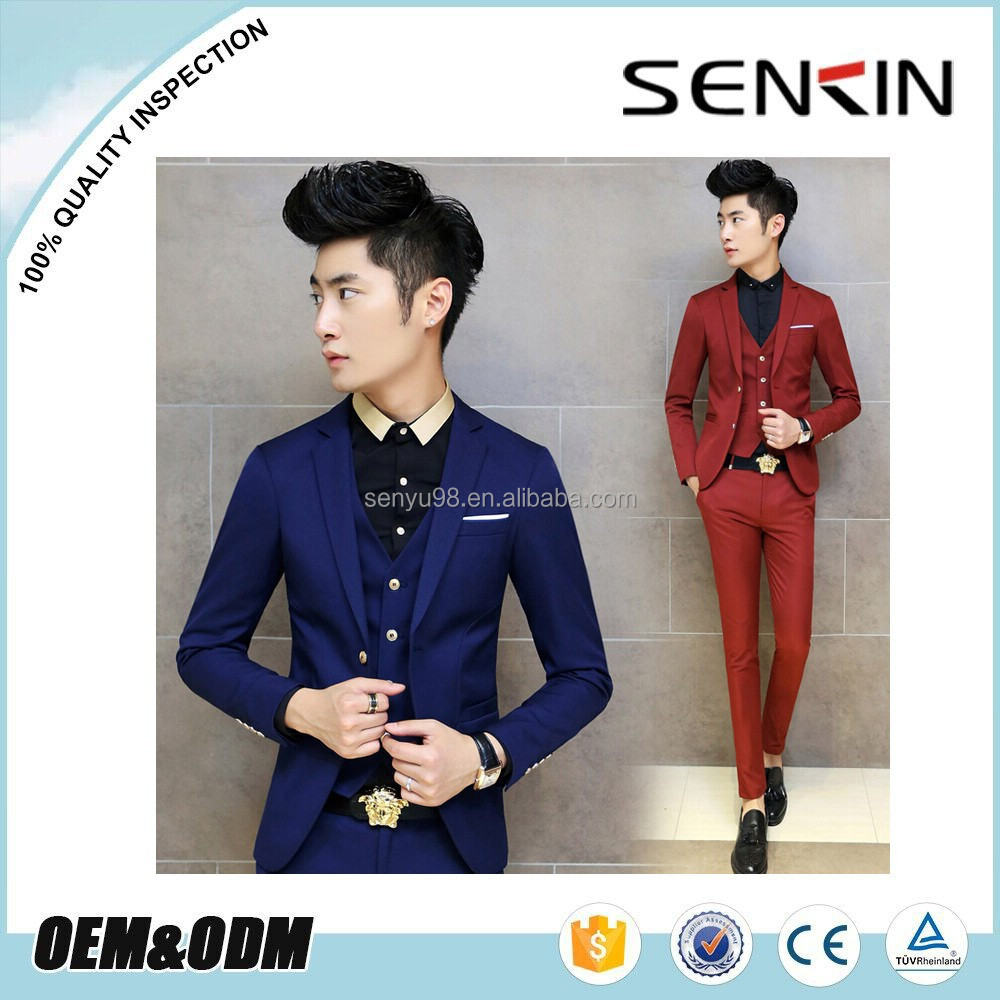 Latest design manufactuer korean slim fit Suits & Tuxedo for men OEM