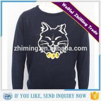 2015 Fashion Mens Cartoon Cat Jacquard Sweater
