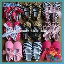 baby shoes leopard crib shoes ribbon bow tie cotton fabric shoes