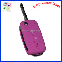 Beautiful pink color girls silicone key cover vw
