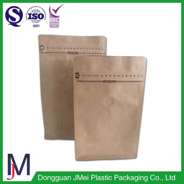 Factory price kraft paper flat bottom pouch with valve and zip coffee bag wholesale