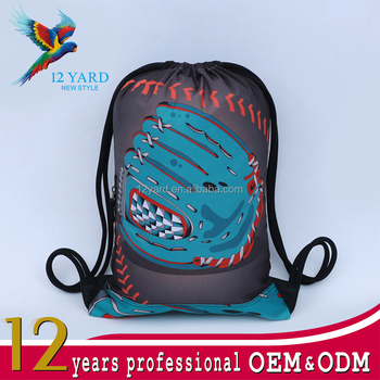 Custom hot sale top quality digital printed sport nylon waterproof drawstring backpack for sport game