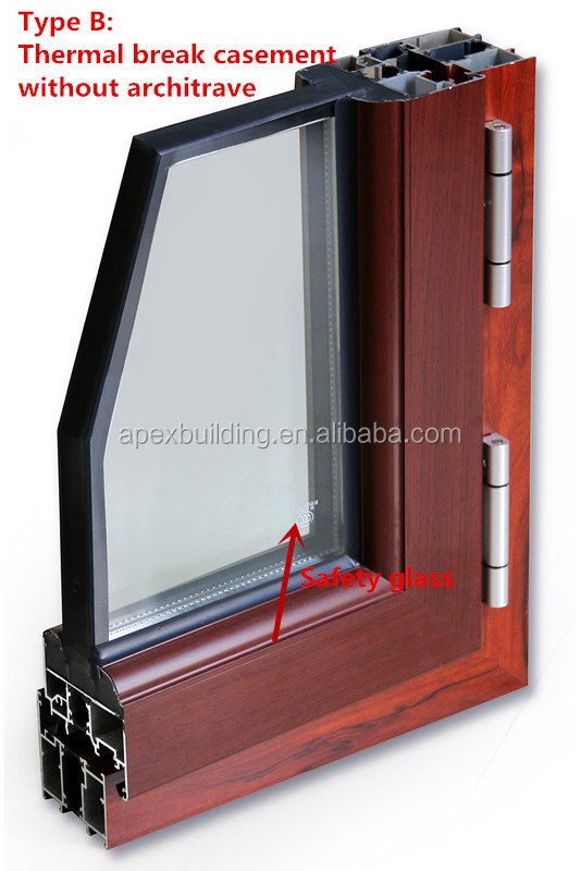 Glass Thermal Break : With blinds aluminum thermal break window for office and