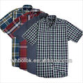OEM New style men's cotton checked short sleeve red shirts cheap shirt