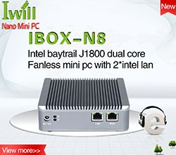 Barebone mini pc 2 ethernet IBOX-501 N5 dual lan small fanless pc support SATA HDD