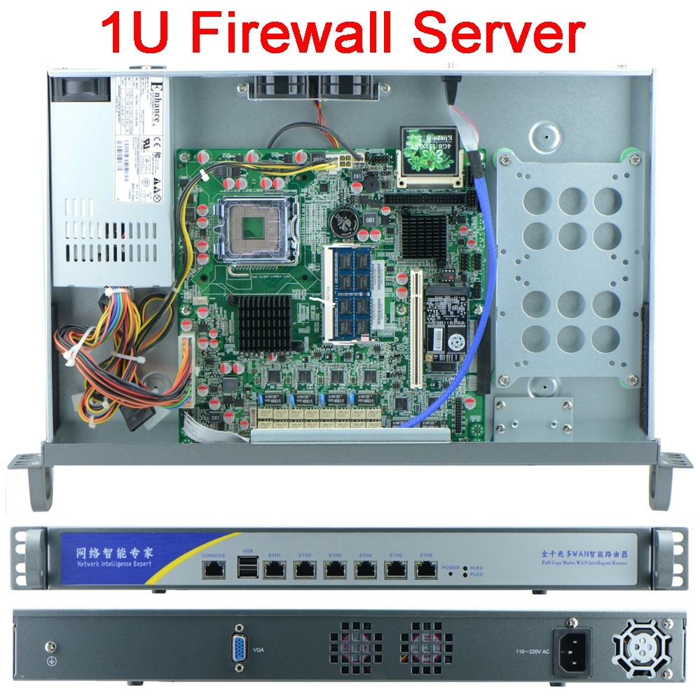 Six Gigabit Ethernet lan firewall/network/ROS moterboard 2G RAM 8G SSD 6 LAN 1U LGA771 Rackmount Networking firewall Server