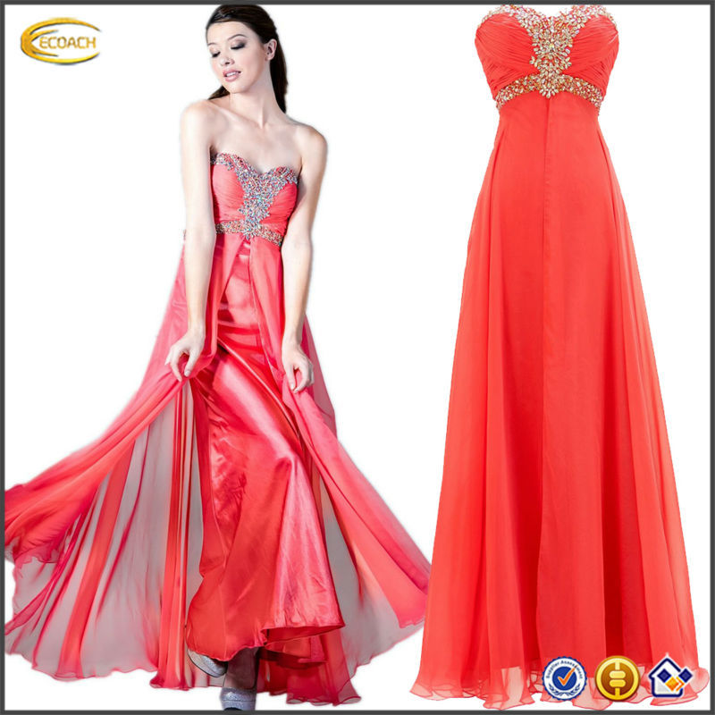 OEM wholesale Women's Strapless Rhinestone Chiffon A Line Prom Formal Dress