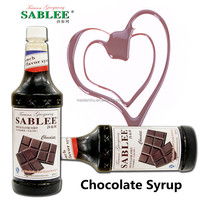 SABLEE Halal Chocolate Flavor Syrup High Quality fit for soft drink with English Label ( 900ml)
